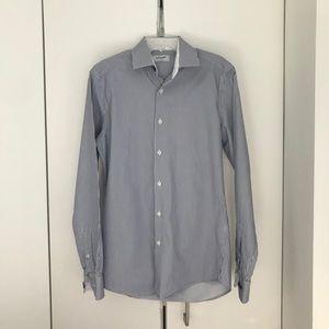 Duchamp London Dress Shirt in Blue Pinstripe